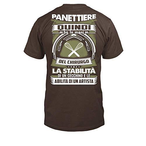 TEEZILY T-Shirt Scollo Tondo Uomo ***Panettiere-Un Artista*** - Cioccolato - XXL
