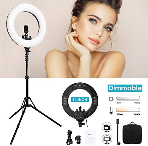 Amzdeal Ring Light - 14 inch Dimmable Light Ring 3200K-5600K, Upgraded 360 LED Ring Light with Stand, Lighting Kit for Makeup/Studio Photography/Live Stream/YouTube/Vlog/Selfie/Camera/Phone