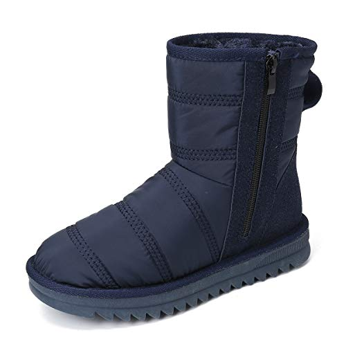 gracosy Snow Boots for Women, Winter Warm Bootie Waterproof Outdoor Anti Slip Ankle Snow Boots Side Zipper Fur Lined Comfort Short Boot Blue