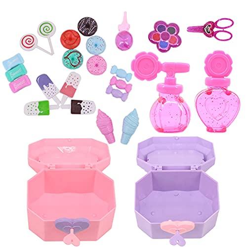 YHomU Kit De Accesorios para Muñecas Mini Adorable Decorativo Simple Casual Realista Juego De Maquillaje para Muñecas Juego De Comida para Muñecas para Muñecas De 18 Pulgadas Estuche De