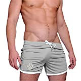 Men's Running Shorts Breathing Athletic Gym Mesh Shorts Solid Dog Paw Gym Workout Shorts Bodybuilding Jogging Short Gray