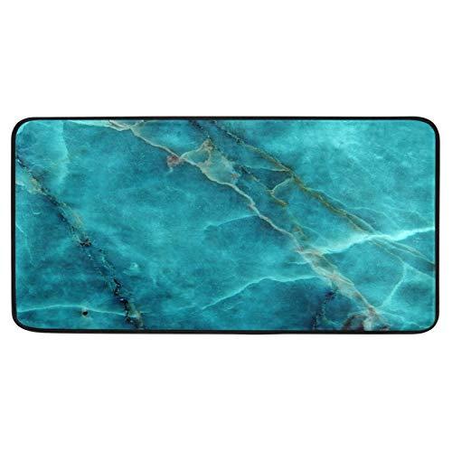 ALAZA Teal Green Marble Texture Kitchen Rugs Anti Fatigue Kitchen Floor Mats Non Slip Soft Standing Mat Bath Rug Runner Doormats Carpet for Home Decor 39 X 20 inch
