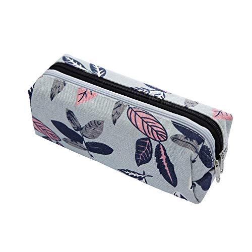 CyFe - Estuche para lápices de gran capacidad con doble cremallera para niñas, diseño vintage de papelería, bolsa de almacenamiento de poliuretano, estuche multifuncional para estudiantes, 19 x 8 x 8 cm, color A