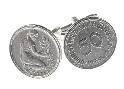 Miniblings 50 Pfennig DM Mark Manschettenknöpfe - Handmade I Manschettenknopf Cufflinks Hemdknöpfe I schöne Holzbox inklusive - 50 Pfennig DM Mark