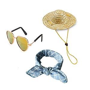 YESSART Fashion Pet Dog Cat Costume Sunglasses Summer Bandana Scarf Hat Set of 3