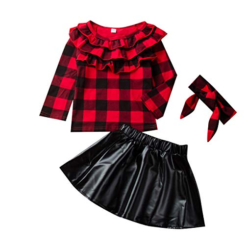 Kleinkind Kinder Baby Mädchen 3Pcs Rock Set Rüschen Red Plaid Shirt Top + Lederrock + Stirnband Outfit