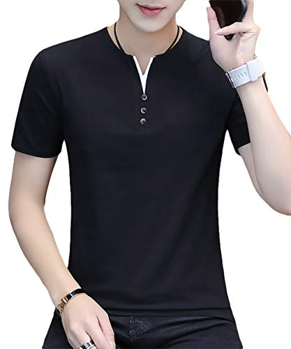 [meryueru(メリュエル)] フェイクボタン ヘンリーネック tシャツ カジュアル サマー トップス 半袖 シャツ ポロシャツ ヘンリーネックカラー メンズ服 はんそで お洒落 オシャレ カッコイイ かっこいい おしゃれ お兄系 スリム シンプル 20代 30代 着回し ヘビロテ 今風 ベーシック カットソー ジム 部屋着 普段着 夏 夏服 夏物 インナー 大人 メンズ (M ブラック)