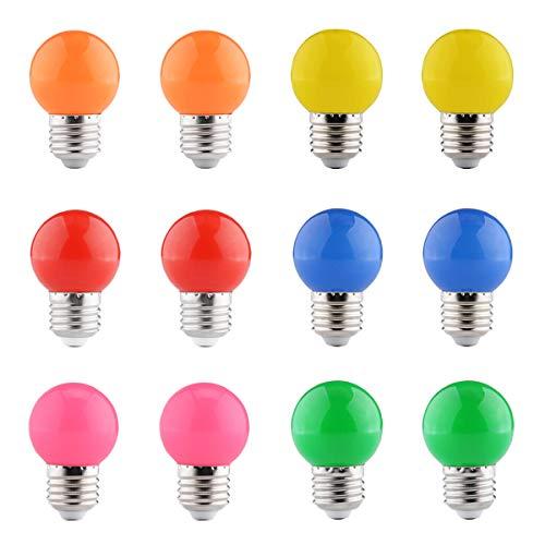 FanciBuy 12er Set Farbige Glühbirnen, 2W E27 LED Bunte Golf Kugel Glühbirne Gemischte Farben für Weihnachten Baum Party Nachtlichter