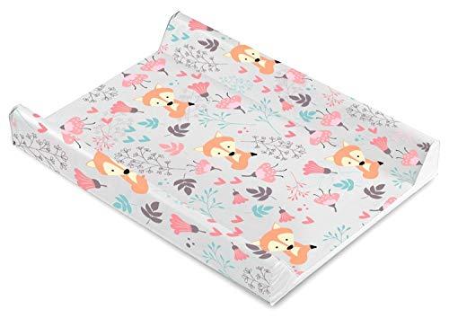 Baby Wickelauflage Wickelmulde Wickelunterlage 50 x 70 cm abwaschbar wickeltischauflage Wickelaufsatz für Kinderbett Mädchen Junge (Fuchs Waldtiere)