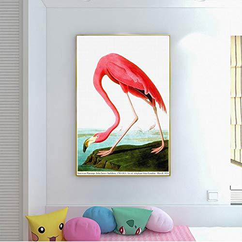 wZUN Impresiones en Lienzo Flamingo Animal Imagen Pintura Decorativa Decoración de Oficina Cartel del hogar Mural de la habitación 60x90 Sin Marco