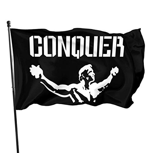 Gsixgoods Flagge Conquer Arnold Flags 3x5 Feet -Nylon Flags with Bright Vivid Color and Premium Material for Outdoor,Longest Lasting for Outside(Breeze Style)