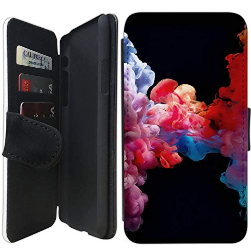 Flip Wallet Case Compatible with iPhone XR (Colorful Vape Smoke) with Adjustable Stand and 3 Card Holders | Shock Protection | Lightweight | Includes Free Stylus Pen by Innosub