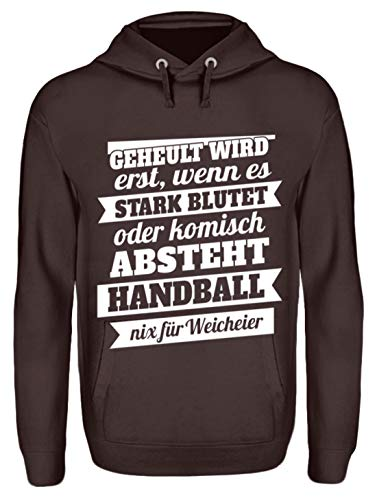 Shirtee Handball – Nix für Weicheier - Unisex Kapuzenpullover Hoodie -M-Schokolade