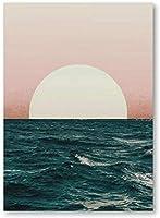 YYTTLLポスター、海の夕日の風景プリント沿岸の装飾スタイルのポスター現代の抽象的な壁アートキャンバス絵画家の壁の装飾40X60Cm