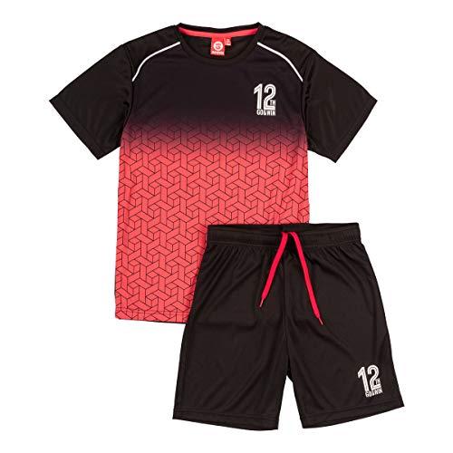 ALPHADVENTURE Go&Win Conjunto Deportivo Manga Corta Rojo y Negro Boavista Jr Para Niño (6_years)