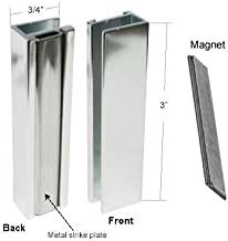 Bright Chrome Shower Door U-Channel with Metal Strike and Magnet - Set