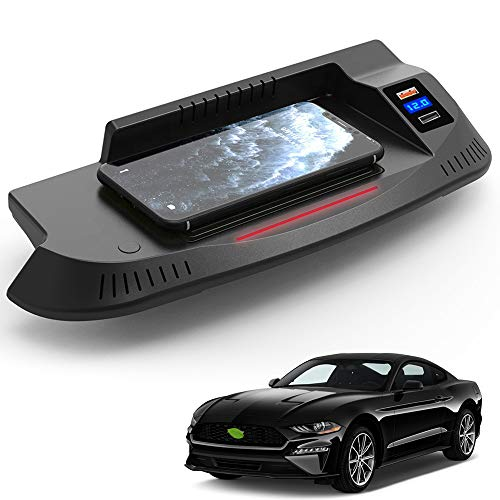Braveking1 Cargador Inalámbrico Coche para Ford Mustang 2015 2016 2017 2018 2019 2020 Consola Central Accesorios Panel 15W Carga Rápida Auto Teléfono Cargador con QC3.0 USB Puerto para iPhone Samsung