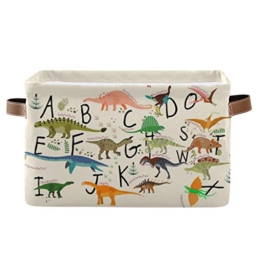 ABC Dinosaurs Storage Bin Collapsible with Handle Rectangle Waterproof ABC Dinosaurs Basket for Storage Cube Closet Organizer for Toy Nursery Book Office Shelf Bathroom