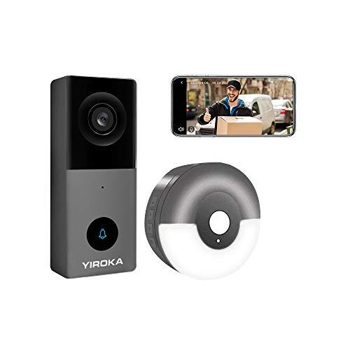 Yiroka Video Timbre con Cámara Cableada Exterior, Smart Life/TuyaSmart APP, HD 1080P, Almacenamiento en la Nube, Tarjeta SD Máxima de 128GB, 2.4G WiFi, con USB Receptor, Gris