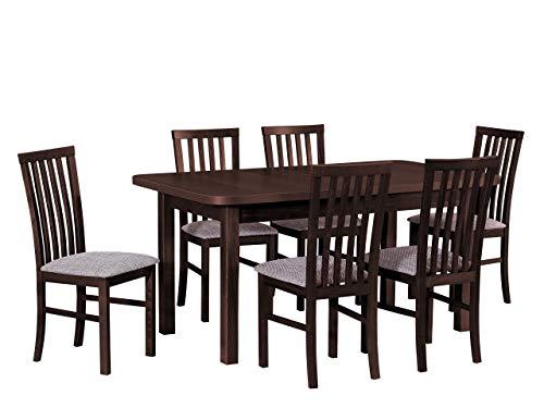 Mirjan24 Esstisch mit 6 Stühlen DM38, Sitzgruppe, Küchentisch, Esstischgruppe, Esszimmer Set, Esstisch Stuhlset, Esszimmergarnitur, DMXZ (Nuss/Nuss Berlin 03)