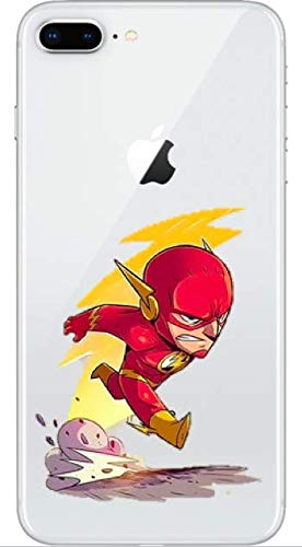 Art Design Funda iPhone 7+ Plus/iPhone 8+ Plus The Flash Super heroe DC Comics Super Hero Carcasa de Moviles Fundas Carcasas Caso Silicón