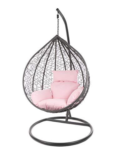 Kideo Komplettset: großer Hängesessel mit Gestell & Kissen, XXL Größe, Indoor & Outdoor, Poly-Rattan (Korb & Gestell: grau, Kissen: rosa Nest (3002_Lemonade))