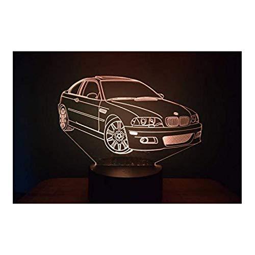 Lámpara De Escritorio Led 3D para Coche Deportivo, Interruptor Táctil De Luz Nocturna De 7 Colores, Decoración De Escritorio para Niños, Luz USB, Control Remoto