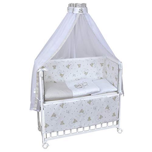 Baby Delux Beistellbett Shiny Teddy Stubenwagen mobil Babybett Holz weiß 90x40cm inkl. Matratze und Komplett Bettset mit Stickerei