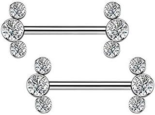 OUFER Piercing per capezzoli in titanio da 14 g, con opale sintetico, trasparente, per capezzoli, piercing per capezzoli