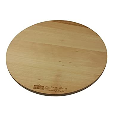 THE WHITE HOUSE cooking style Wooden Rotating Kitchen Board. Turntable Rotating Cake Stand, Pizza Board, Cheese Board, Party Serving Board (13-1/2 )