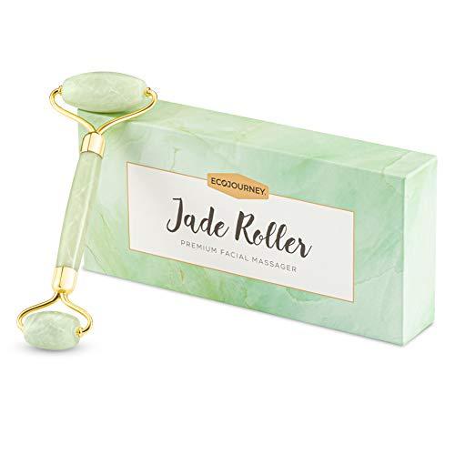 Ecojourney Premium Jade Roller aus zertifizierter Jade. Geräuschlos, stabil & rostfrei. Inklusive Tragetasche & Anleitung.