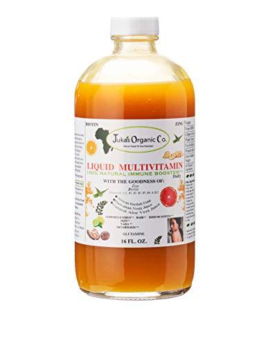 Juka's Organic Co. Daily Liquid Multivitamin For SKIN | HAIR | NAILS with Zinc | Biotin | Baobab | Vitamin A-E |Traced Minerals, Amino Acid | Boost Immune, Energy & Digestive System - In Glass -16 oz