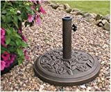 Kingfisher Cast Iron Effect Parasol sombrilla 9 kg, Base Redonda, Efecto Hierro Fundido, 45x45x32.5 cm