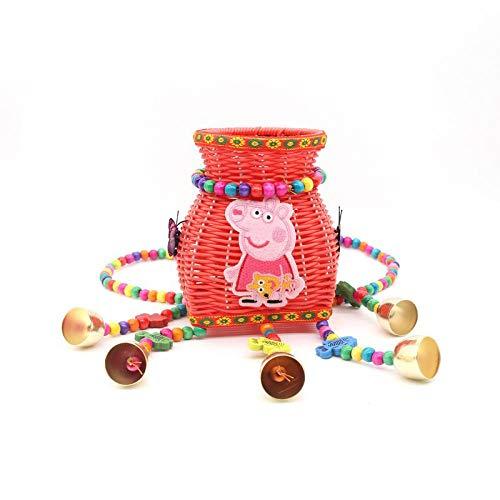 BFCGDXT Nuovo stile etnico creativo spalle ricamate colore dei bambini piccolo cestino posteriore fibbia posteriore viaggio souvenir-Porcellino rosso piccolo rosa gonna