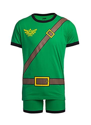 Nintendo Herren Videospiel Charakter Boxershorts Unterwäsche und T-Shirt Set - Gr�n - Large