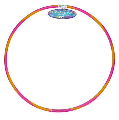 alldoro 63031 Hoop Fun Reifen Ø 72 cm, Hoopreifen mit 11 LEDs, Sportreifen für Sport, Fitness und Gymnastik, Kinderreifen mit Licht, für Kinder ab 4 Jahren & Erwachsene, pink/orange