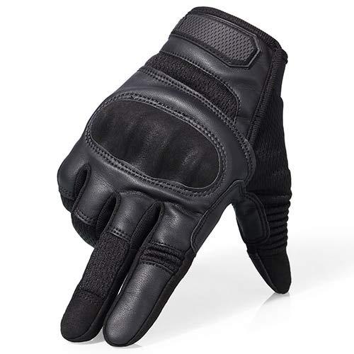 Touchscreen Motorrad Hard Knuckle Vollfingerhandschuhe Schutzausrüstung Racing Biker Motorradfahren Moto Motocross-Black-10-XL