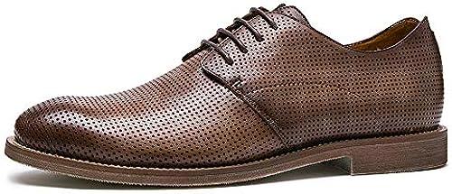Easy Go Shopping Handgemachte Sommer England Herrenschuhe Wildleder atmungsaktiv Freizeitschuhe Herren Lederschuhe Oxfords Schuhe,Grille Schuhe (Farbe   braun, Größe   43-EU)
