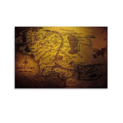 DRAGON VINES Póster de la Tierra Media del Señor de los Anillos, impreso en lienzo de la decoración de la sala de estudio, 20 x 30 cm