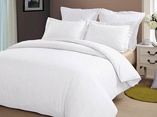 "Precious Star Linen Hotel Quality 800 Thread Count Egyptian Cotton 3pc Duvet Cover Set Zipper Closer Oversized Super King Size (120"" x 98"") with Corner Ties (White Solid)"
