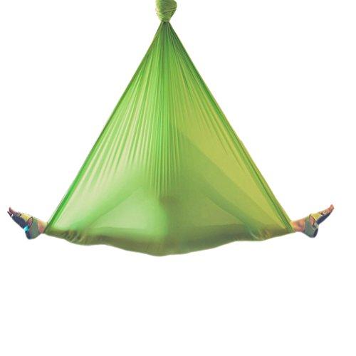 Wellsem 5M Yoga Silk Anti-Gravity Yoga Amaca per Pilates Altalena Attrezzatura per Danza Aerea Aerial Silks Yoga Swing Solo Il Tessuto (Non Gli Altri Accessori) Verde
