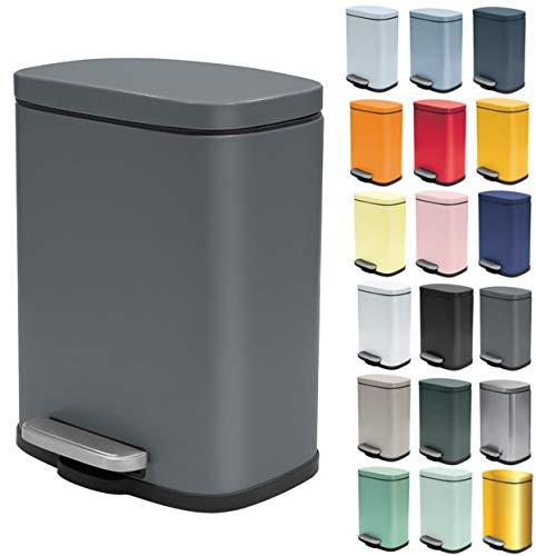 Spirella Kosmetikeimer 5 Liter Edelstahl mit Absenkautomatik und Inneneimer Akira Badezimmer Mülleimer Softclose Abfalleimer grau matt