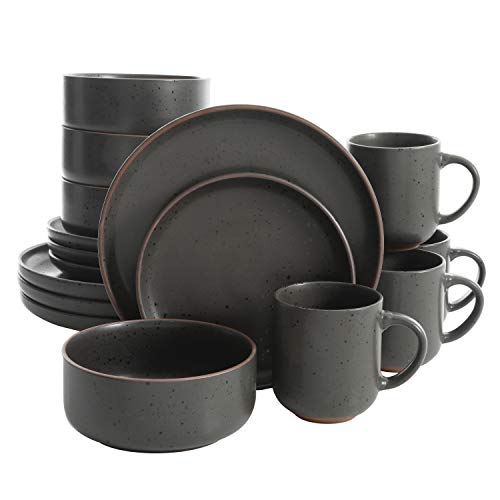 Gibson Tosca Terra Cotta Reactive Dinnerware Set, 16 Piece, Black Sand