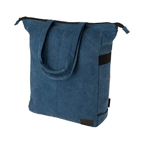 FastRider Celo Fahrradtasche für Gepäckträger, 23L Seitentasche Fahrrad, 100% Kanevas Gepäckträgertasche, Wasserabweisend, Reflektierend, Einfache Montage - Blau