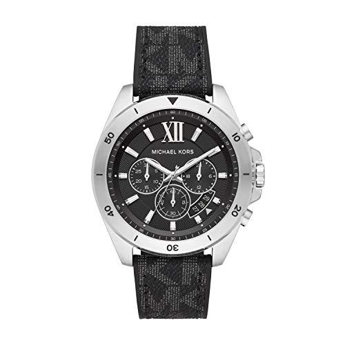Michael Kors Men's Brecken Stainless Steel Quartz Watch with Plastic Strap, Black, 22 (Model: MK8850)