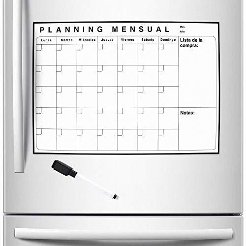 Evisen Calendario Magnético Mensual De Nevera con Imán En Castellano - Planificador Mensual para Organizar Vida Cotidiana, Tareas, Trabajo, Estudios