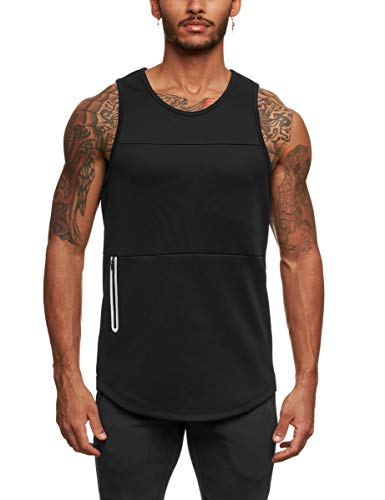 FLYFIREFLY Mens Gym Workout Mesh Tank Tops Bodybuilding Fitness Top Training Sports Sleeveless T Shirt Black