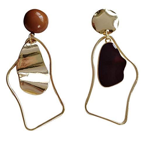 Yhhzw Needle Asymmetrical Dangle Earrings Red Bead Black Enamel Metal Alloy Geometric Hanging Drop Earrings For Womenm Jewelry