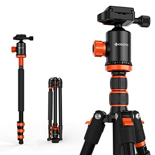 "GEEKOTO AT24EVO Aluminum Tripod, 77in Camera Tripod for DSLR, Compact Aluminum Tripod with 360 Degree Ball Head 1/4"" Aluminum Quick Release Plate Professional Tripod Load up to 17.6 Pounds"