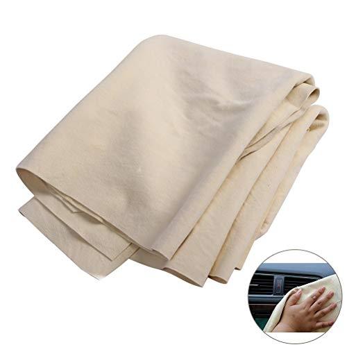 HOUSON 90x50 cm Autoleder, Ledertuch Fensterleder Hochwertiges Naturleder-Reinigungstuch aus Echtem Hirschleder für die Autowäsche Lackpflege Scheiben und die Reinigung im Haushalt